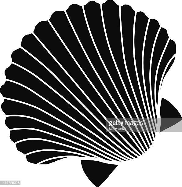 ベクトルのアイコンのステンシルスカラップのシェルにブラックとホワイト