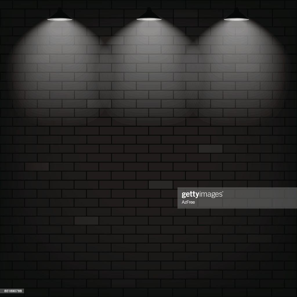 Vector scene illuminated spotlight. Black bricks wall background.