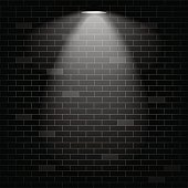 Vector scene illuminated spotlight. Black bricks wall background.