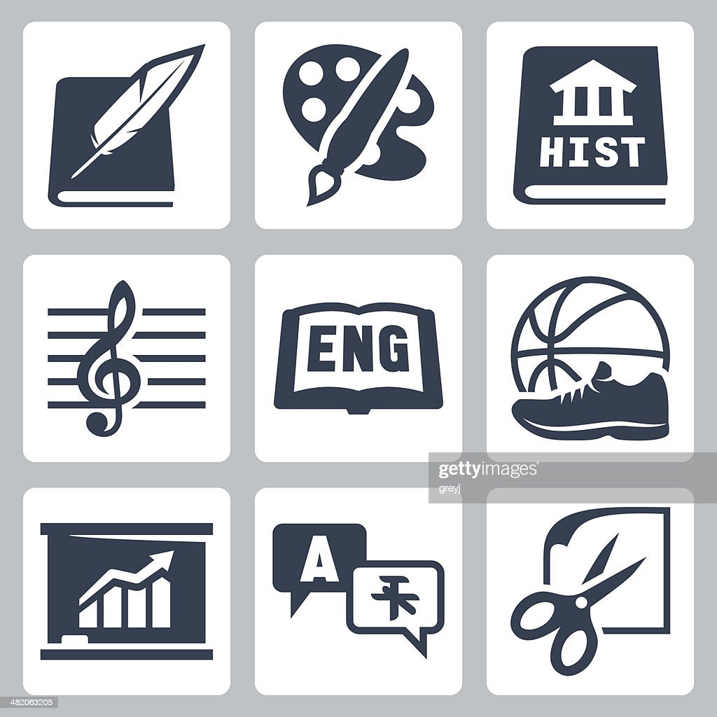 Vector school subjects icons set #2