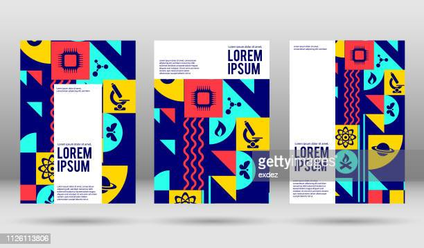 vector science cover designs - graphic print stock illustrations