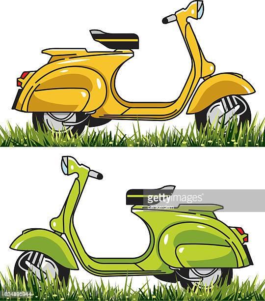 stockillustraties, clipart, cartoons en iconen met vector scooter set - moped