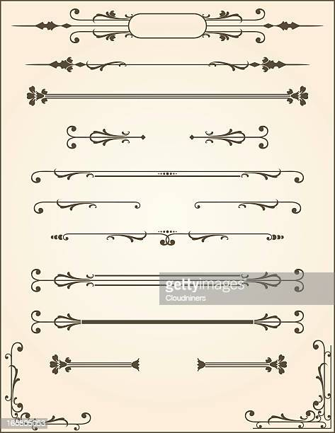 vector scroll dividers - art nouveau stock illustrations, clip art, cartoons, & icons