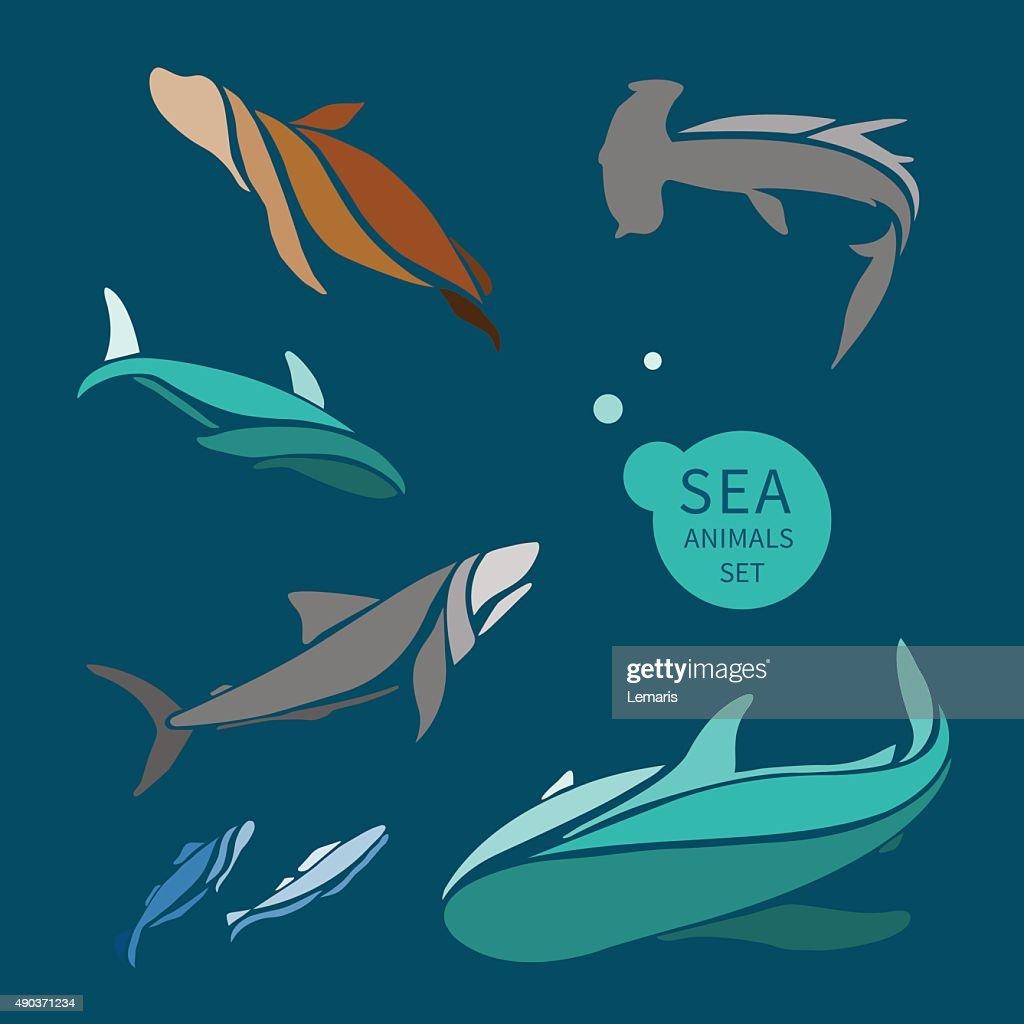 vector sea animals logo set