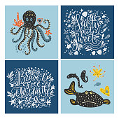 Vector sea cards set with handdrawn sea animals and ornate lettering pieces