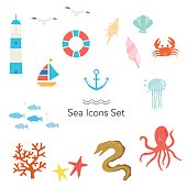 Vector Sea icons set
