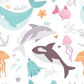Vector sea life animals