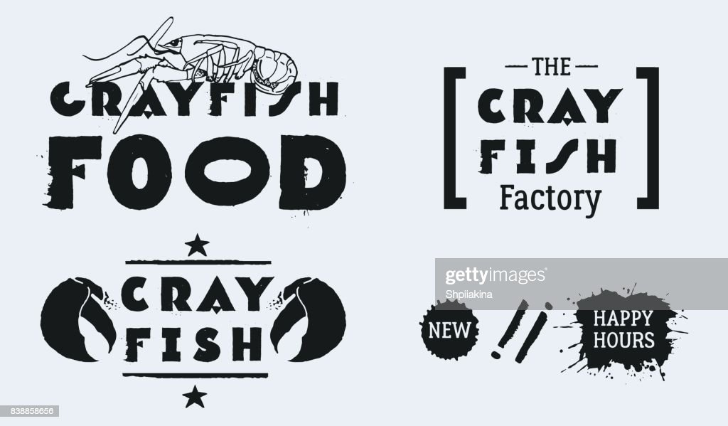 Vector seafood labels: hand drawn illustrations, ink lettering. CRAYFISH FOOD with lobster. The CRAYFISH Factory.