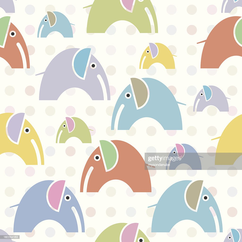 vector seamles kids style elephants wallpaper