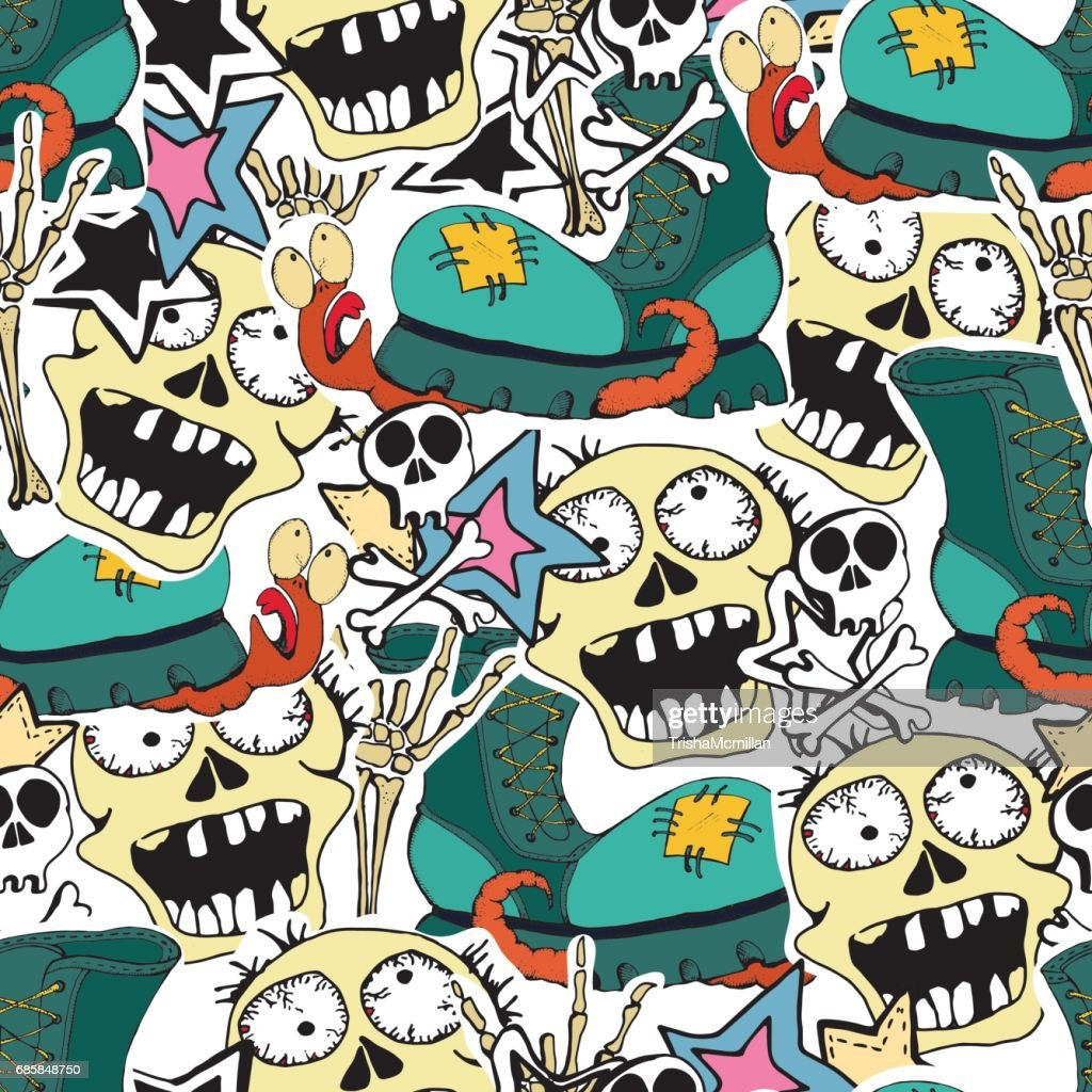 Vector seamles pattern. Crazy zombie