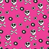 Vector seamles pattern.  Punk rock abstract background.