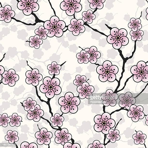 Papel de parede vector sem costura com flores de Amêndoa