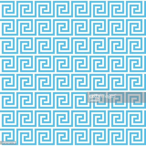 vector seamless ancient greek meander pattern background. editable stroke. - classical greek style stock illustrations