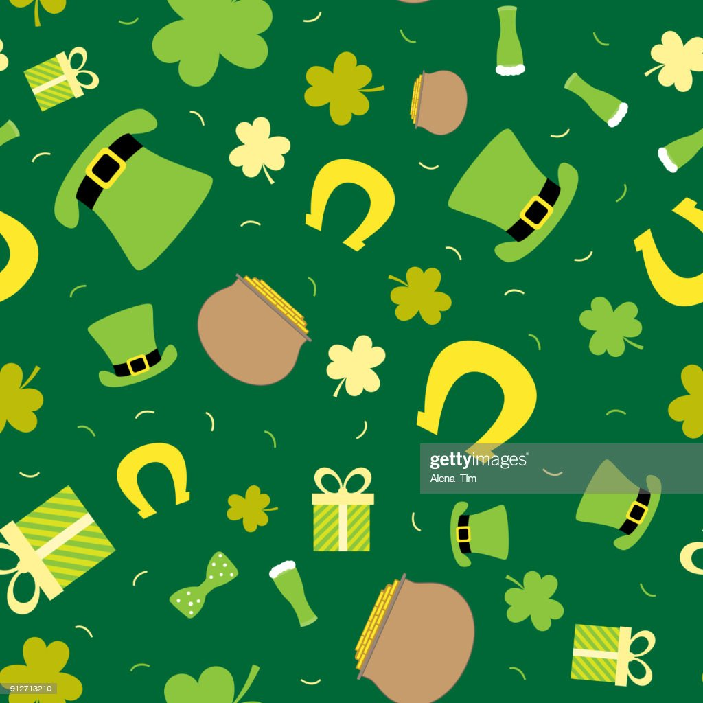 Vector seamless background for St. Patrick's Day. Cauldron, coins, hat, clover.