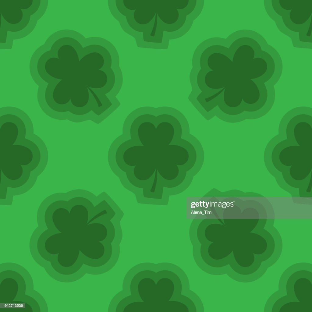 Vector seamless background for St. Patrick's Day. Three-leafed clover strewn across the green background.