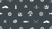 Vector seamless background on pirate and sea theme
