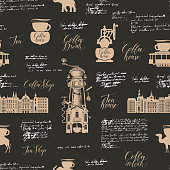 Vector seamless background on tea and coffee theme