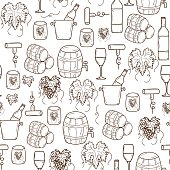 Vector seamless background with cartoon hand drawn wine objects in