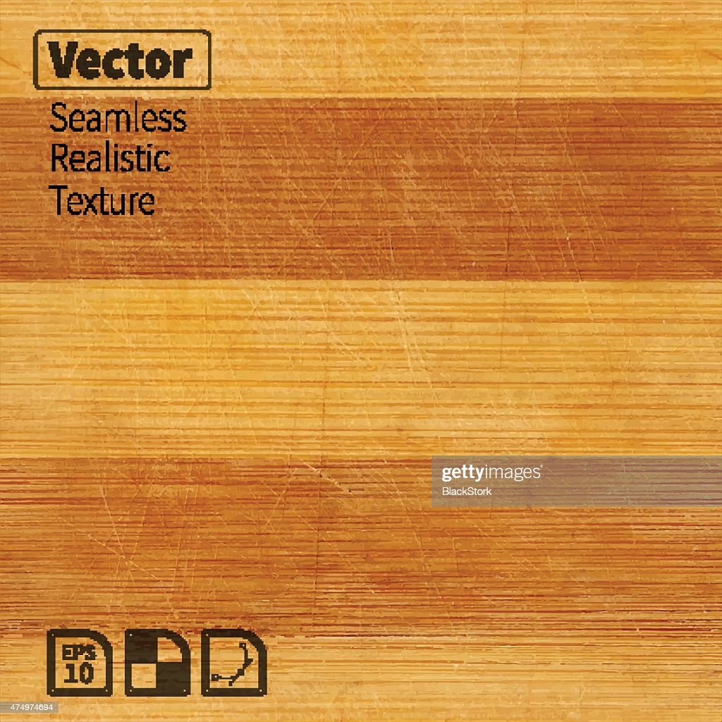 Vector seamless bamboo wood scratched board realistic texture.