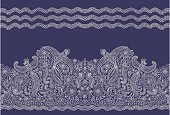 Vector seamless border in ethnic style. Exotic flying birds, beige contour thin line drawing folk ornaments on a dark indigo blue background. Embroidery, wallpaper, textile print, wrapping paper
