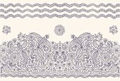Vector seamless border in ethnic style. Exotic flying birds, dark blue contour thin line drawing folk ornaments on a light beige background. Embroidery, wallpaper, textile print, wrapping paper