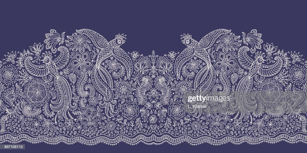 Vector seamless border in ethnic style.Exotic flying birds, beige contour thin line drawing with folk ornaments on a dark indigo blue background. Embroidery, wallpaper, textile print, wrapping paper