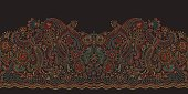 Vector seamless border in ethnic style.Exotic flying birds, colorful contour thin line drawing with folk ornaments on a black background. Embroidery silhouette, wallpaper, textile print, wrapping paper