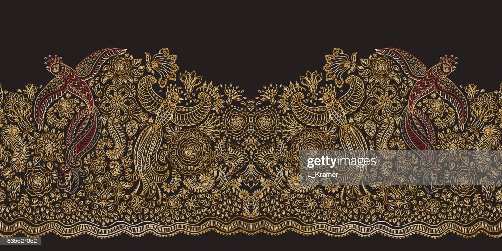 Vector seamless border in ethnic style.Exotic flying birds, golden contour thin line drawing with folk ornaments on a black background. Embroidery silhouette, wallpaper, textile print, wrapping paper