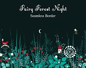 Vector seamless border with forest plants, and fairy house. Background for frames, decorative scotch tape, books, kids illustrations.