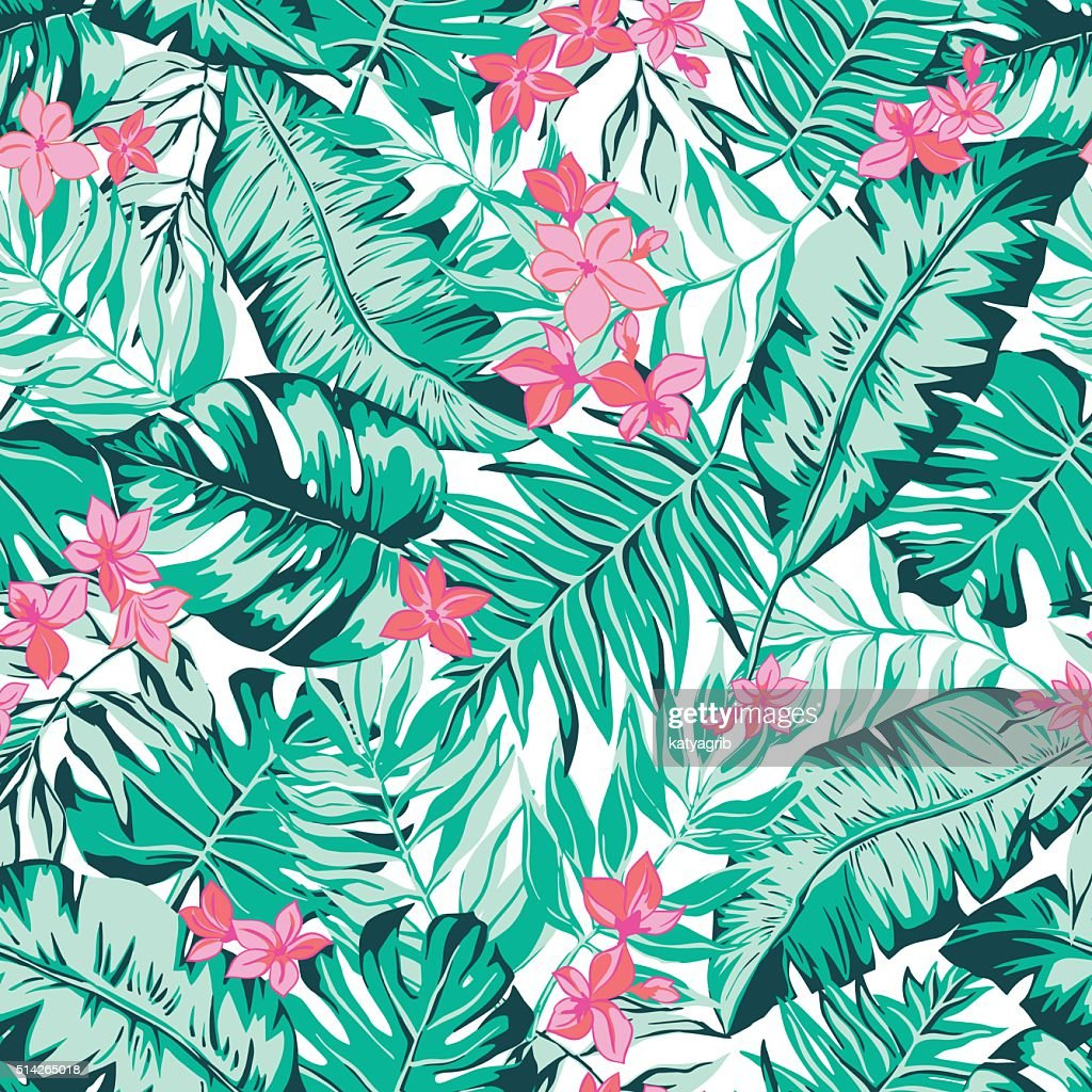 vector seamless bright green tropical pattern with leaves, flowers