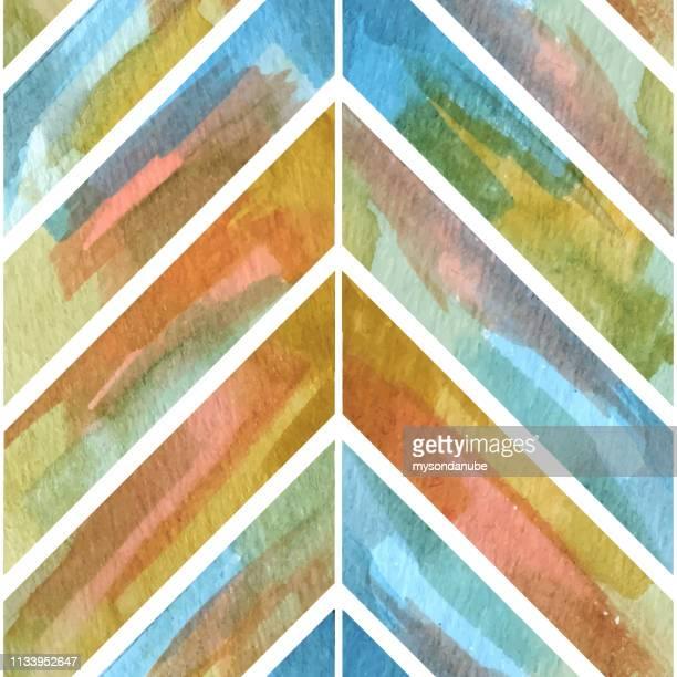 手で作られた水彩画とベクトルシームレスシェブロンパターン - 山形模様点のイラスト素材/クリップアート素材/マンガ素材/アイコン素材