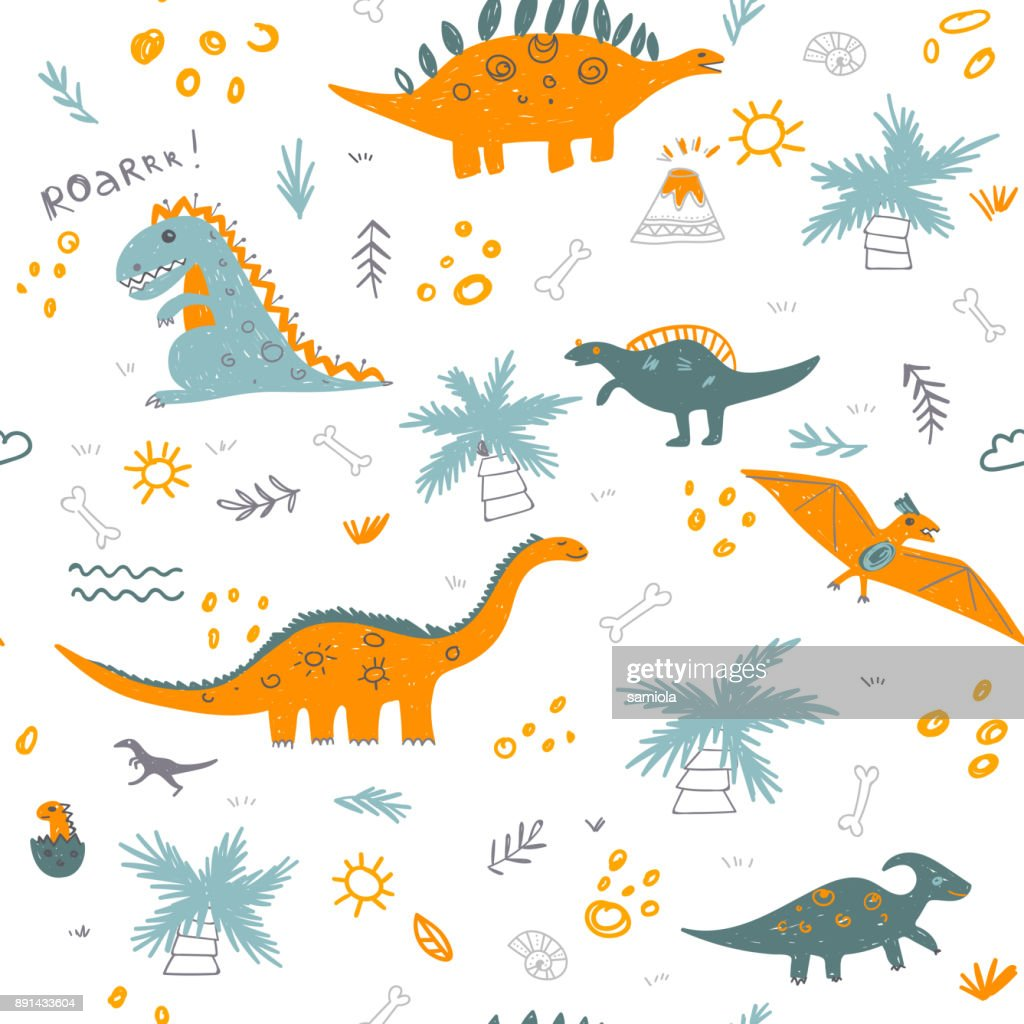 Vector seamless childish pattern with colorful dinosaurs