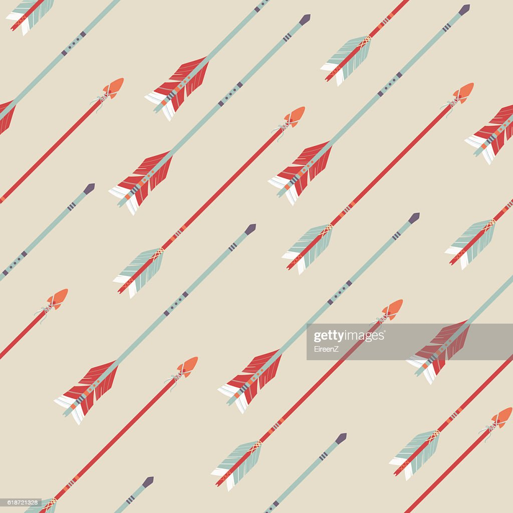 Vector seamless colorful ethnic pattern with arrows