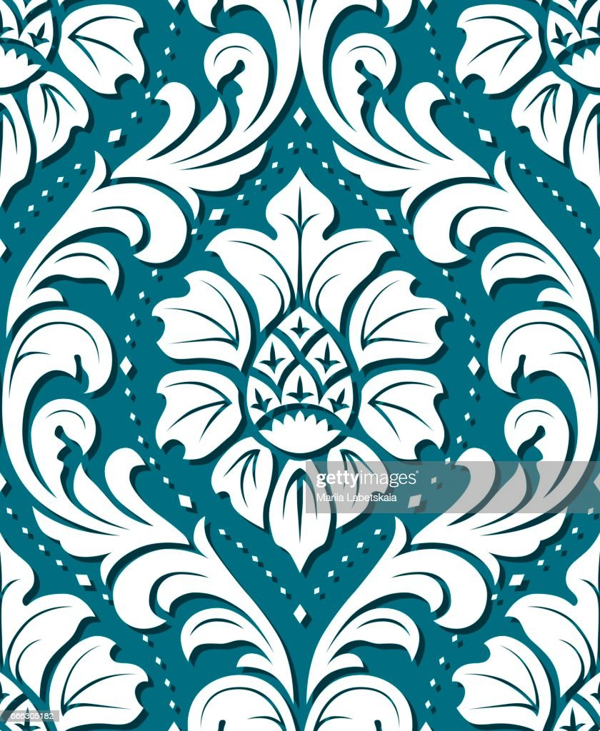 Vector seamless damask ornament background