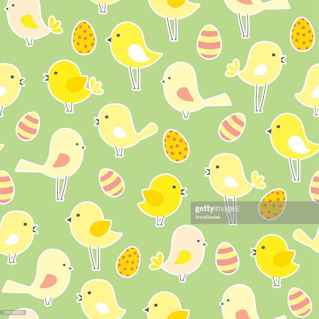 vector seamless Easter pattern with  birds and eggs