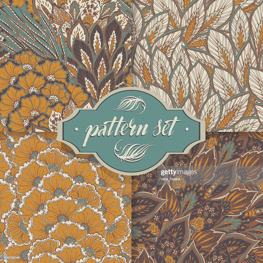 Vector seamless eastern patterns set