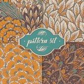 Vector seamless eastern patterns set
