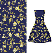 Vector seamless embroidery, floral pattern of leaves and rose on classic women's dress mockup. Vector illustration. Hand-drawn ornate pattern. Gold on dark blue.
