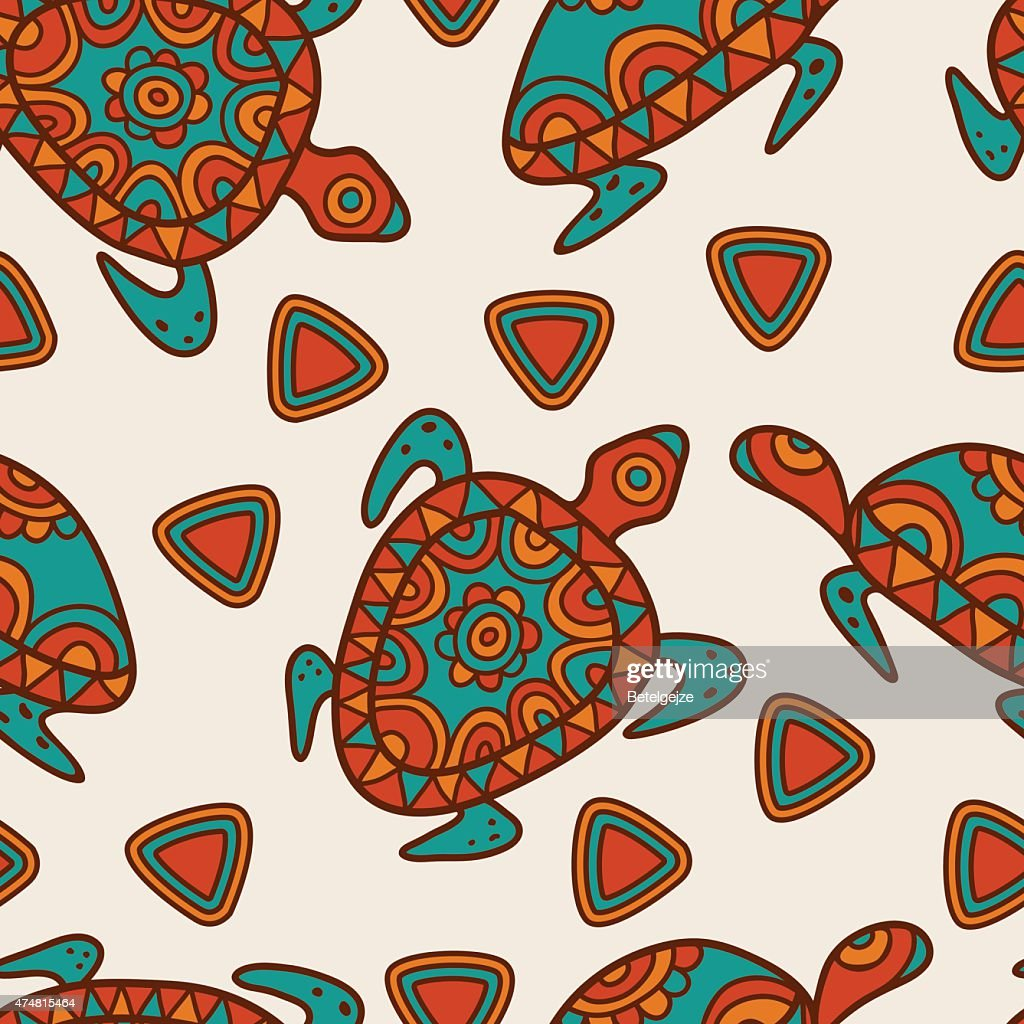 Vector seamless ethnic pattern with multicolor ornamental turtles.
