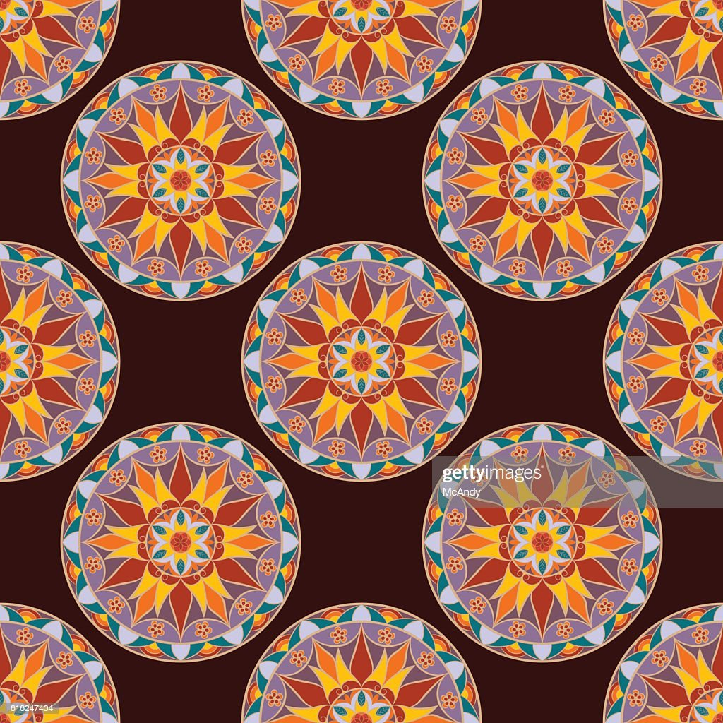 Vector Seamless Floral Mandala Pattern : Vector Art