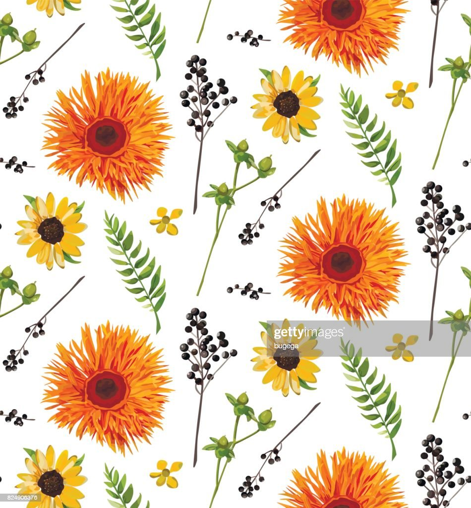 Vector Seamless Floral Pattern Element Of Orange Yellow Gerbera
