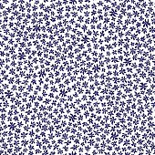 Vector seamless floral pattern from hand drawn stylized small dark indigo blue flowers in chaotic order on a white background. Trendy millefleurs style, small scale texture. Batik, wallpaper, wrapping paper, chintz, Liberty  textile print, album cover