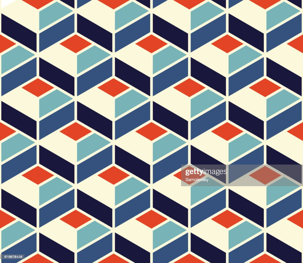 Vector Seamless Geometric Tiling Pattern In Blue and Orange Colors