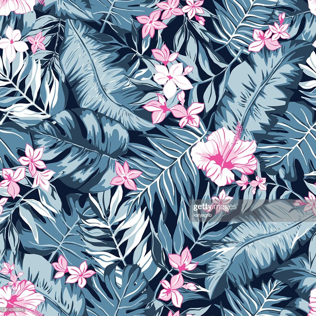 vector seamless gray pink topical paradise pattern, leaves and flowers