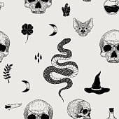 Vector seamless hand drawn vintage horror pattern with skulls, bat, snake, moon, poison, crystal. Creepy decoration for paper, textile, wrapping decoration, scrap-booking, t-shirt, cards.