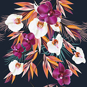 Vector seamless illustration on a tropical theme palm leafs and orchids