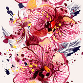 Vector seamless illustration on a tropical theme with orchids