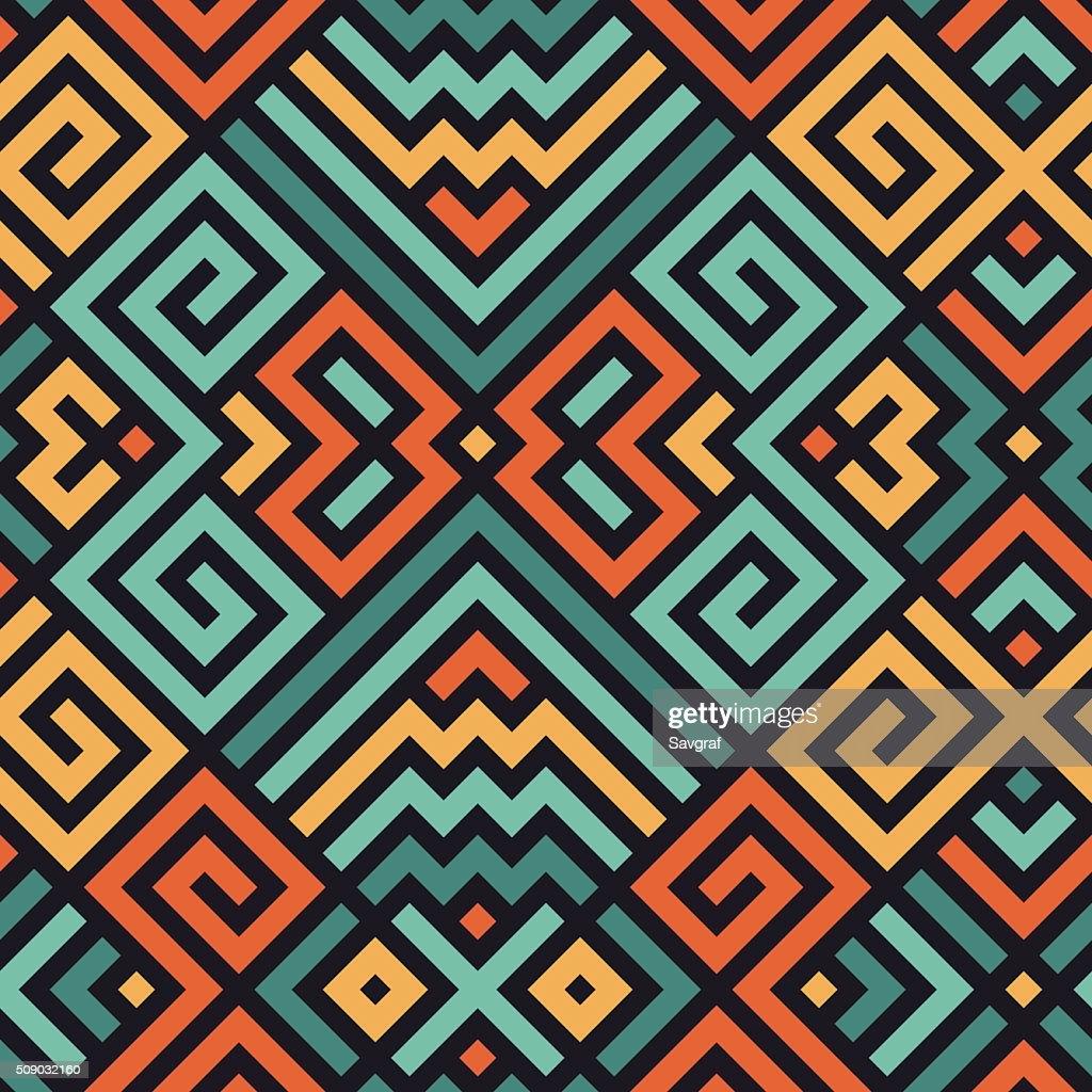 Vector Seamless Maze Pattern for Textile Design