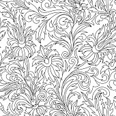 Vector Seamless Monochrome Floral Pattern. Coloring Book