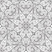 Vector Seamless Monochrome Ornate Pattern